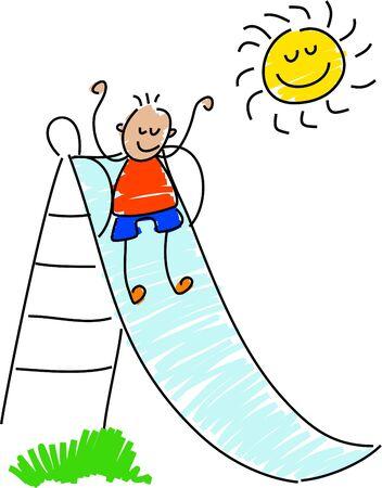 slide: little boy playing on slide - toddler art