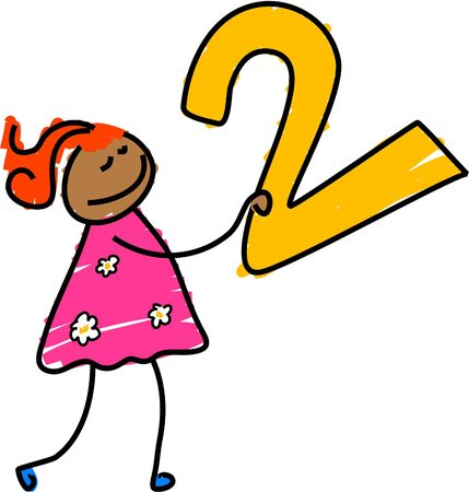 two child: girl with number two - toddler art series Stock Photo