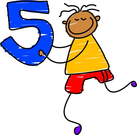five: boy with number five - toddler art series Stock Photo