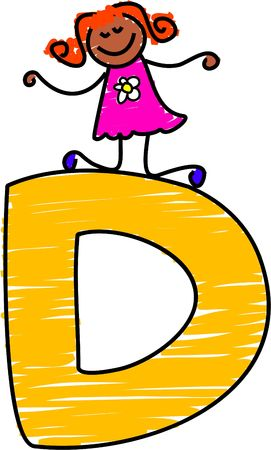 d: letter D girl - toddler art series