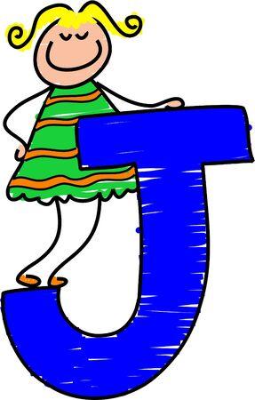letter J girl - toddler art series
