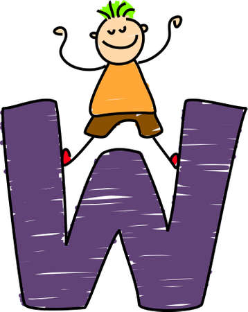 letter W boy - toddler art series Stock Photo - 355298