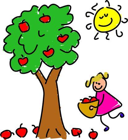 picking fruit: little girl picking apples - toddler art series Stock Photo