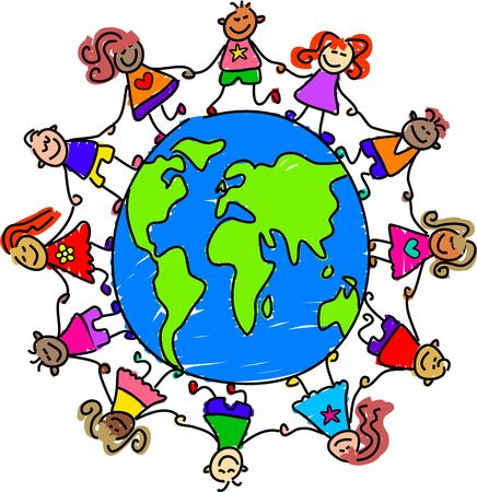 hands holding earth: world kids - toddler art series Stock Photo