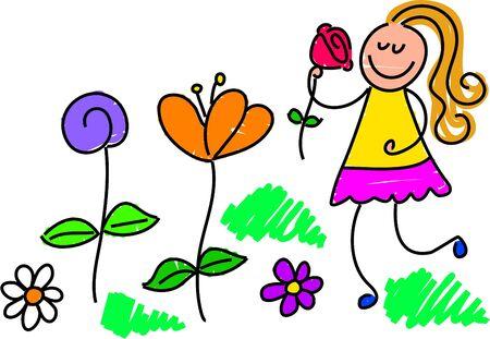 cueillette: petite fille cueillait des fleurs dans le jardin - tout-petit de style art