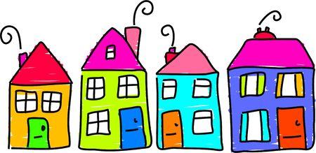 peuter tekening van een straat van huizen Stockfoto