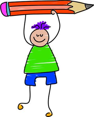 crayon drawing: pencil boy - toddler art series