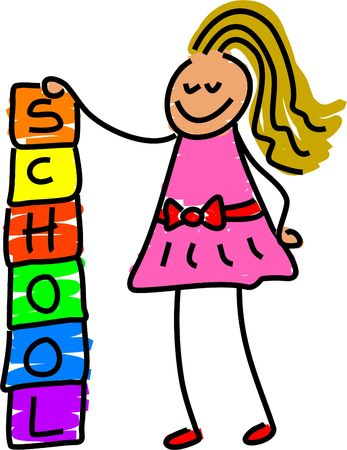 building blocks girl - toddler art Stock Photo - 362565
