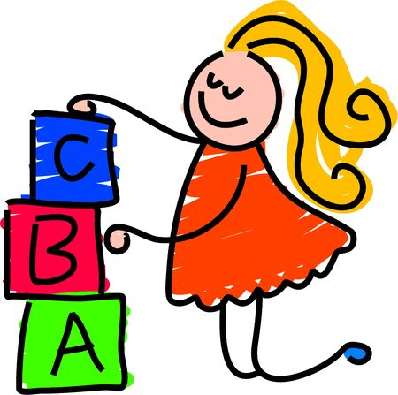 tower block: building blocks girl - toddler art