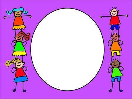 climbing frame: kids border - toddler art series