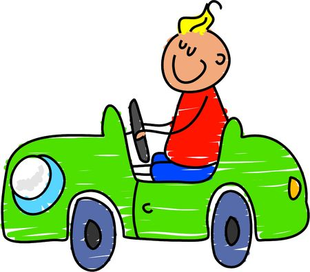 pedal: lttle boy playing in his toy pedal car - toddler art series