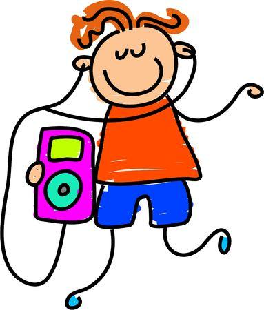 escucha activa: ipod chico - Embarazo arte serie Foto de archivo