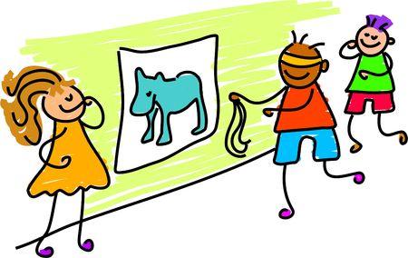 donkey tail: pines en la cola de burro - ni�o arte serie