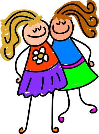 two child: my friend - todler art series Stock Photo