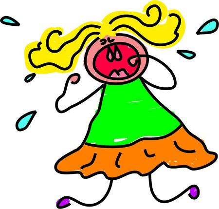 moods: tantrum kid - toddler art series Stock Photo