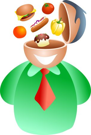 edibles: food brain - icon people series Stock Photo