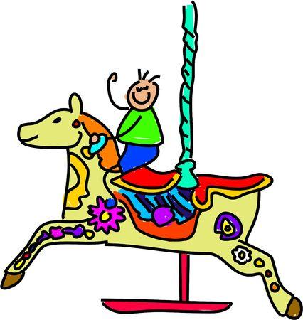carousel kid - toddler art series Stock Photo - 382189