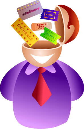admittance: ticket brain - icon people series