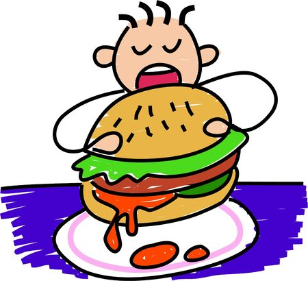 hungry kid: my burger - toddler art series Stock Photo
