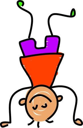 headstand: headstand kid - toddler art series Stock Photo