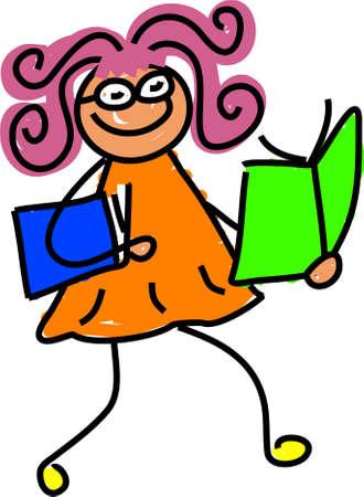 brainy: reading kid - toddler art series Stock Photo