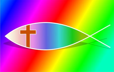 christian background: rainbow Christian fish symbol