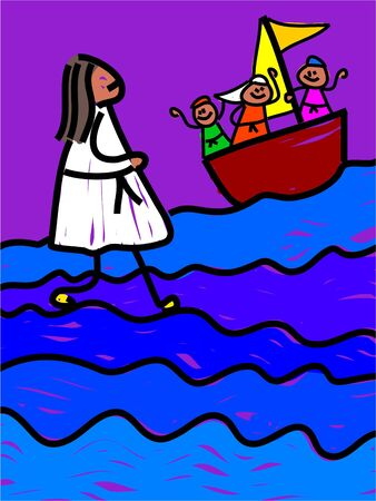 disciples: Jesus walks on water - toddler art series