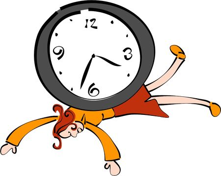 squashed: woman squashed under a clock - time keeper series