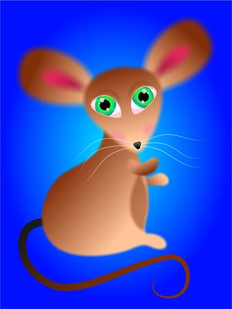 really: really cute fluffy mouse with big green eyes Stock Photo