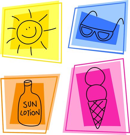 suntan lotion: summer icons