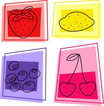 fruit icons - strawberry, lemon, blackcurrants, cherries Imagens