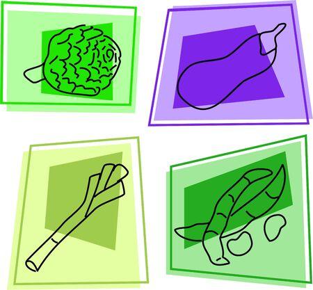 broad: vegetable icons - artichoke, aubergine, leek, broad beans