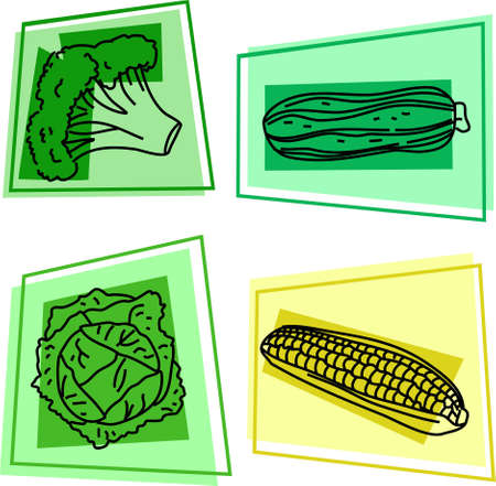 edibles: vegetable icons - broccoli, marrow, cabbage, sweetcorn Stock Photo