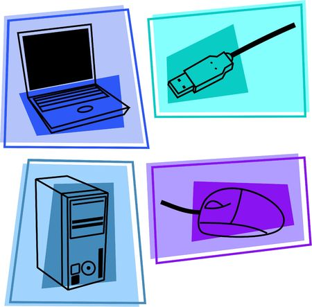 computer icons - laptop, usb cable, computer tower, mouse Stock Photo - 430118