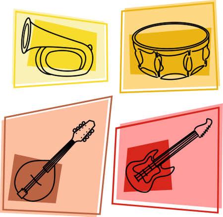 mandolino: musica icone - bugle, tamburi, mandolino, chitarra elettrica