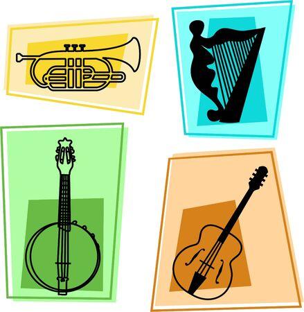 cornet: music icons - cornet, harp, banjolin, guitar