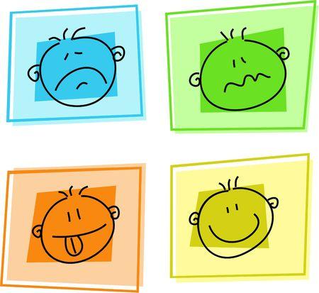 las emociones: smilie iconos - tristeza, confusi�n, esperanza, felicidad