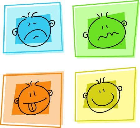 feelings and emotions: smilie icons - sadness, confused, expectation, happiness