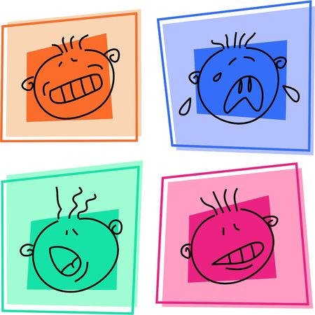 is embarrassed: smilie icons - trepidation, sobbing, shouting, embarrassed