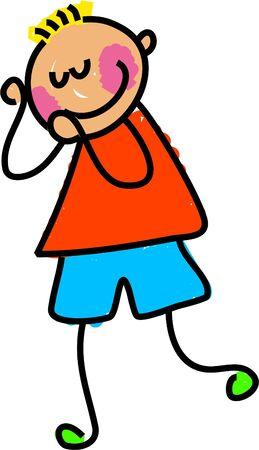 blushing: shy kid - toddler art series Stock Photo