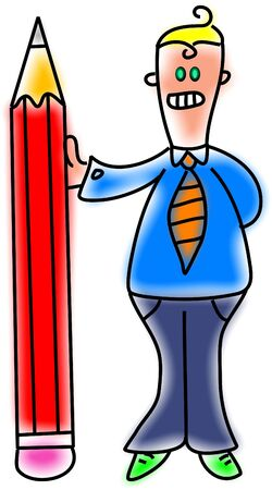 clerical: male clerical worker holding giant pencil Stock Photo