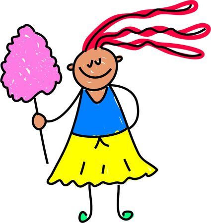 candy floss: little girl with some candy floss from the fair - toddler art series