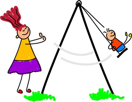 little kid being pushed on the swing by mum - toddler art series