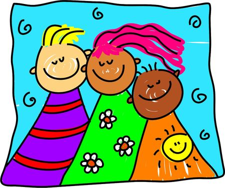 group of diverse and colourful children from different cultures - toddler art series Stock Photo - 449186