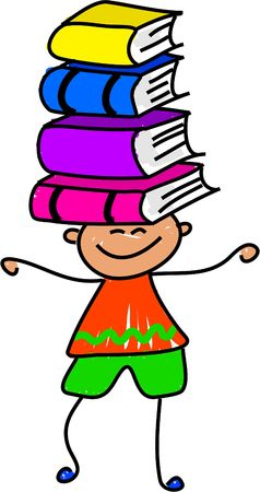 little boy balancing books on his head - toddler art series Stock Photo - 451104