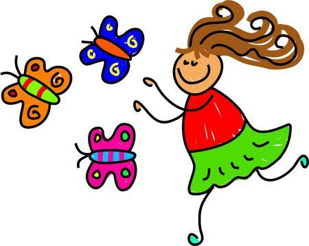 chasing: little girl chasing butterflies - toddler art series Stock Photo