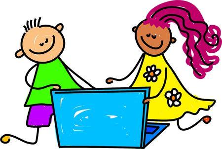 sibling: little kids playing on a laptop computer - toddler art series
