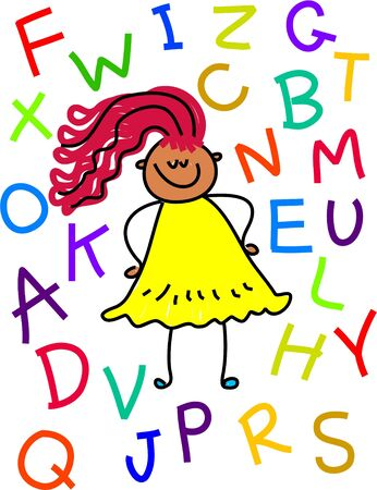 surrounding: A drawing of a toddler with alphabets surrounding her - toddler art series