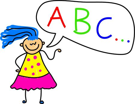 a drawing of a toddler with a speech bubble with A, B, C alphabet characters - toddler art series Stock Photo - 451620