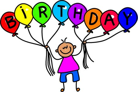 spell: little boy holding balloons that spell out the word BIRTHDAY - toddler art series